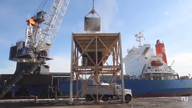 Salt being loaded at Port Newark